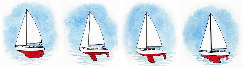 Diversi tipi di chiglia: chiglia lunga, chiglia a pinna, chiglia a bulbo e chiglia di rollio. Illustrazione: Claudia Myatt.