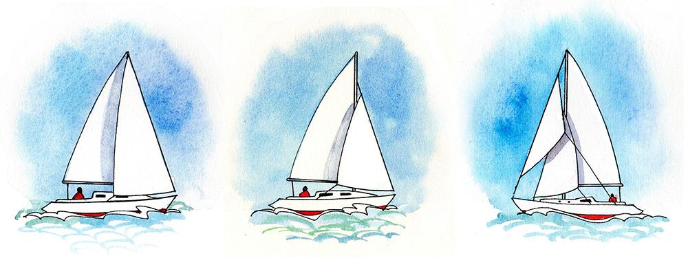 Sloop con armo in testa d'albero, sloop frazionato e cutter. Il cutter dispone di due vele di prua. Illustrazione: Claudia Myatt.
